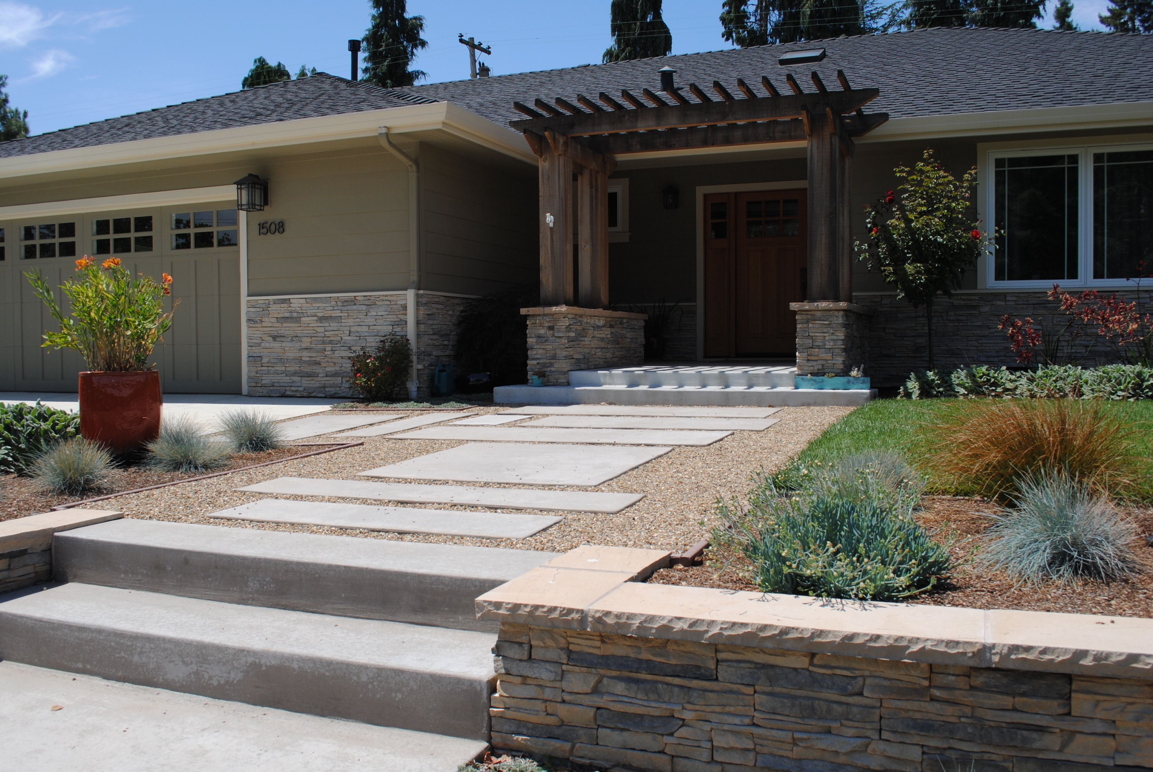 Low Maintenance Front Yard Ideas | Mountain View Stone ... on Concrete Front Yard Ideas id=34134