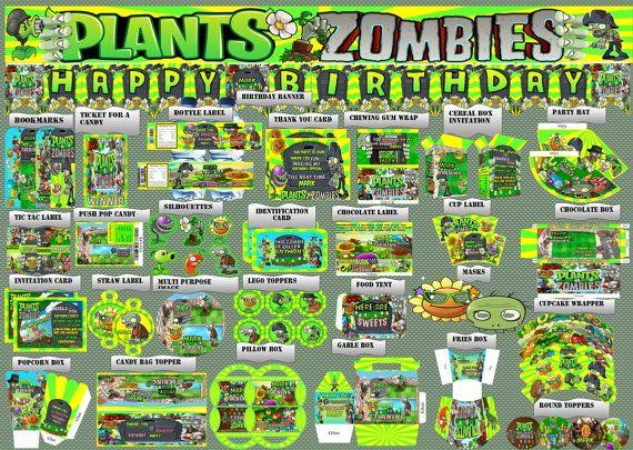 Plants VS Zombies Birthday Party Printable Set  by PartyPrintDecor