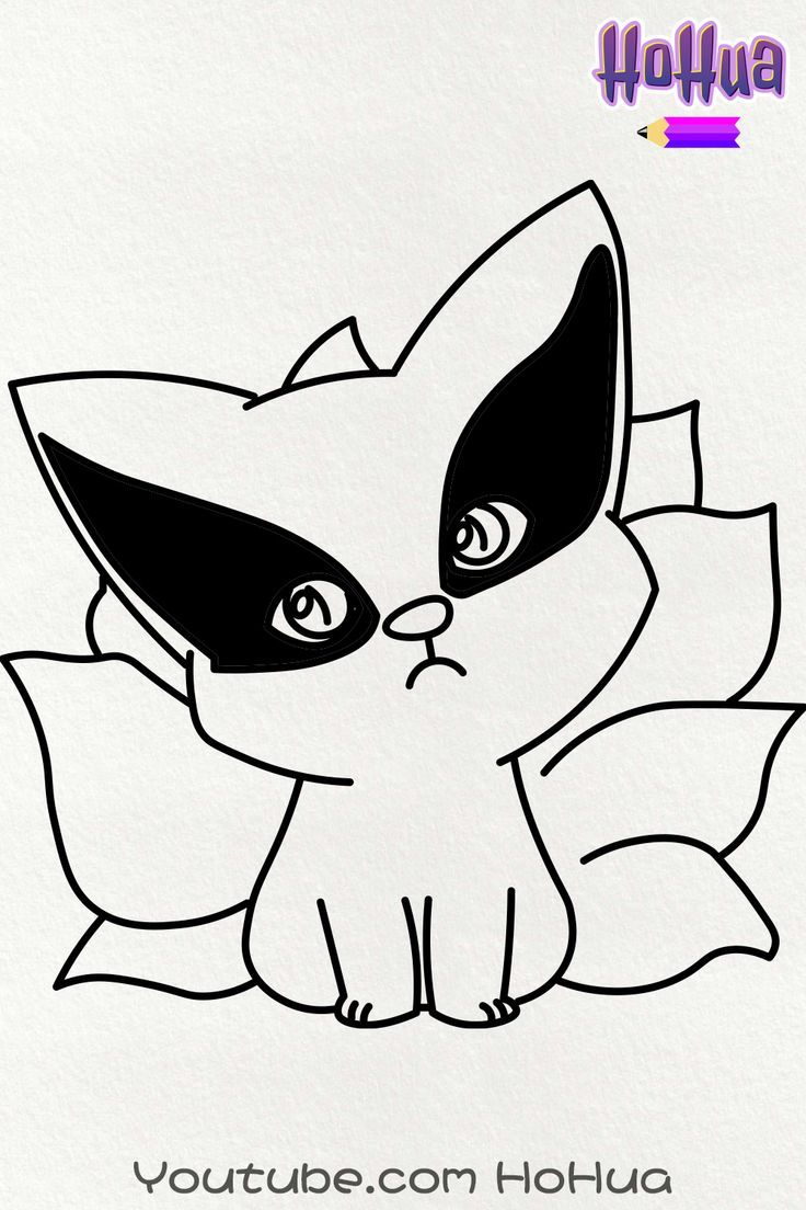 Chibi Kurama Nine Tails from Naruto Line art coloring Page by HoHua