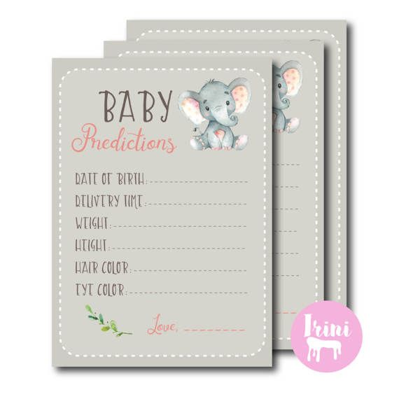 Baby Predictions   Pink Elephant Baby Shower   Baby Shower Game   Pink Gray  Game   Print At Home Printable 18