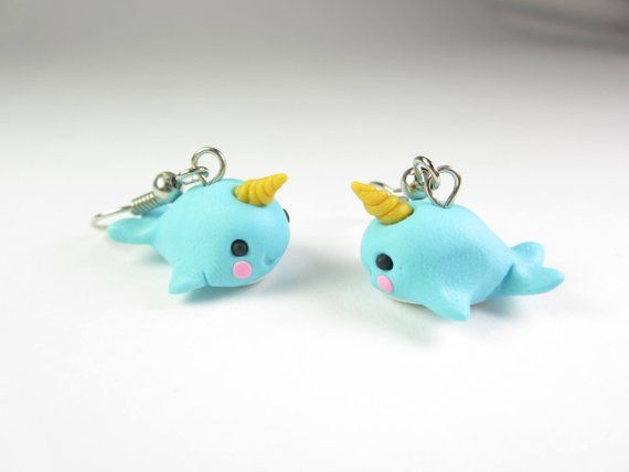 Narwhal Earrings, Narwhal jewelry, narwhal gift, cute animal earrings, polymer clay, whale earrings,