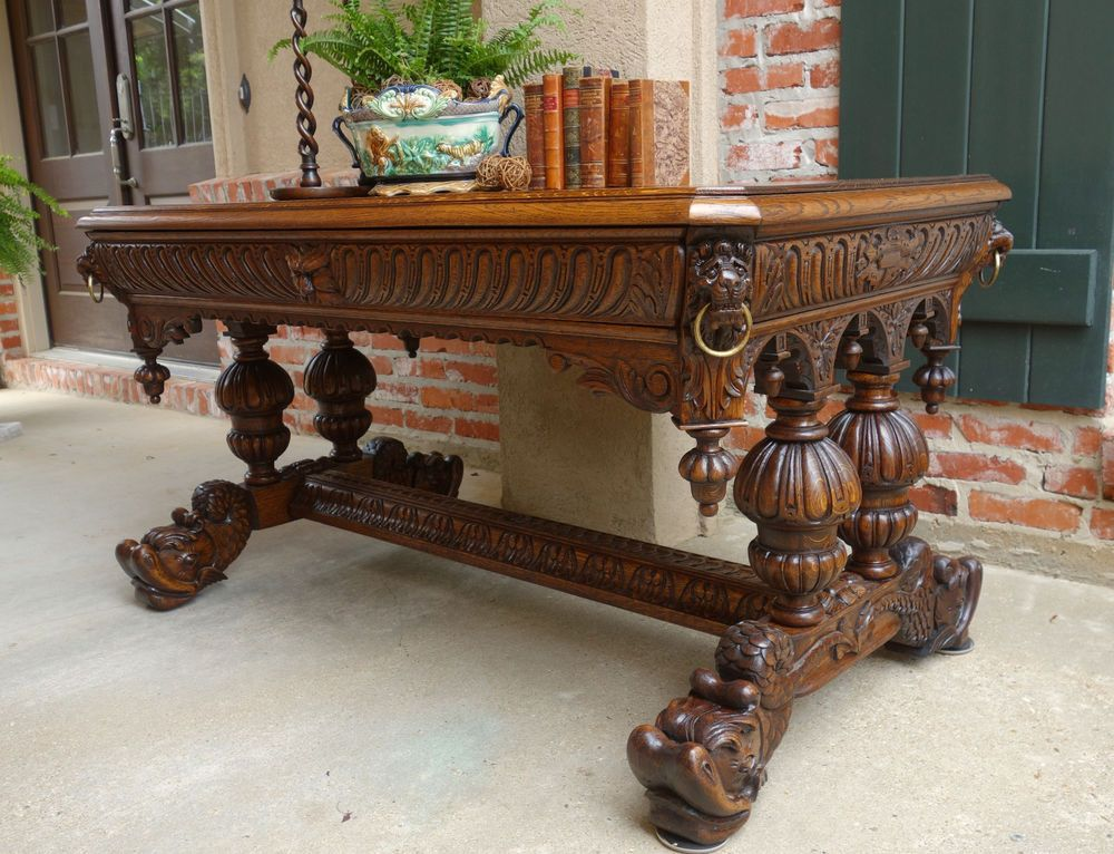 Antique French Victorian Carved Tiger Oak Dolphin Table Desk Renaissance  Gothic ~ ebay.com - Antique French Victorian Carved Tiger Oak Dolphin Table Desk