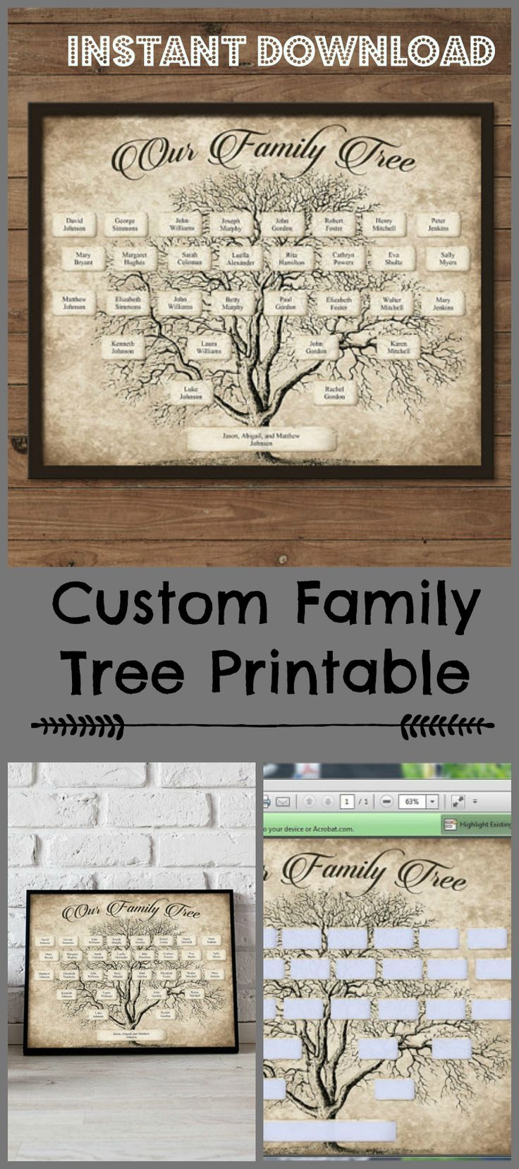 Custom Family Tree. Printable 5 Generation Template,