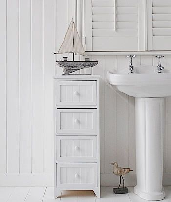 Bathroom Cabinet Storage White 4 Drawer Freestanding