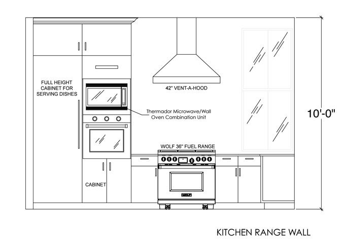 Kitchen range wall elevation interior sections for Kitchen cabinet section