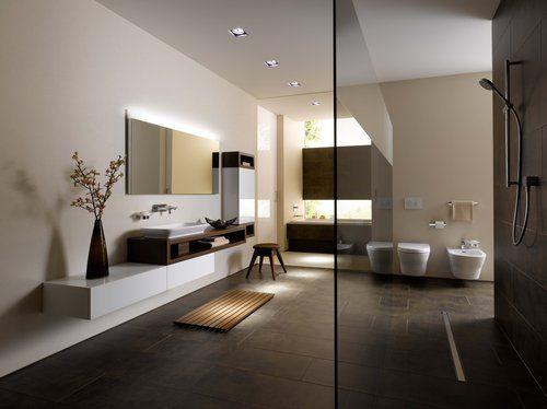 Weiße Oberflächen und dunkles Teak-Holz bringen Spannung und - holz für badezimmer