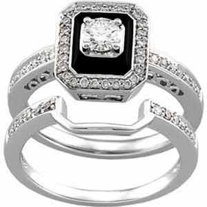 Ring 14k White Gold Antique Inspired Emerald Cut Black Onyx Diamond Wedding Set