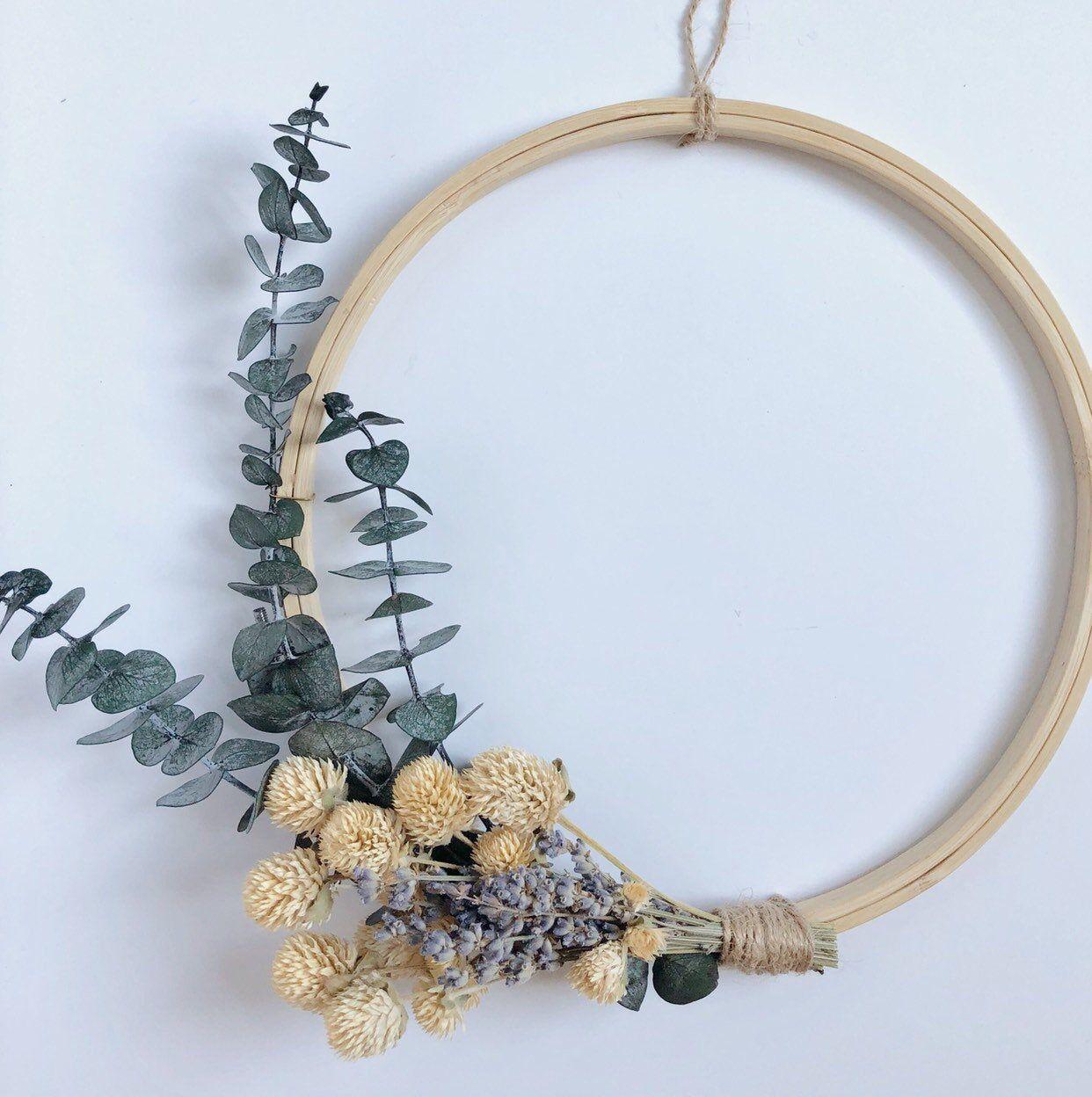 Photo of Eucalyptus + Lavendar Bouquet Modern Wreath for Farmhouse and Boho Style