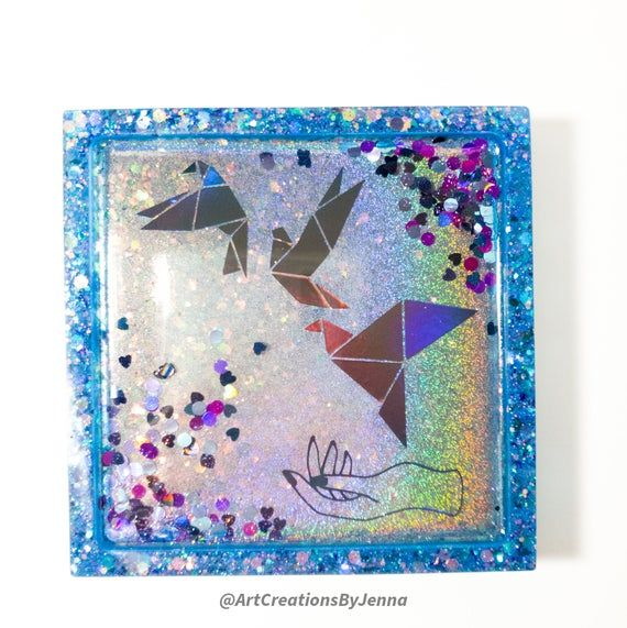 Photo of Mystical Origami Birds | Blue and Holographic Rainbow Resin Coaster or Trinket Dish with Black Rainbow Vinyl