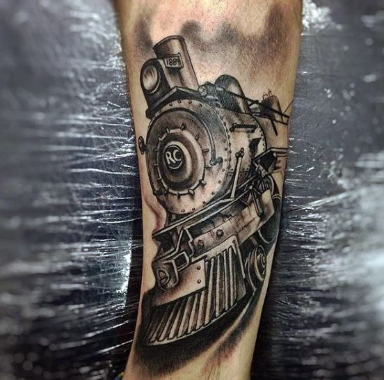 70 train tattoos for men masculine railroad designs train tattoo tattoo and tatting. Black Bedroom Furniture Sets. Home Design Ideas