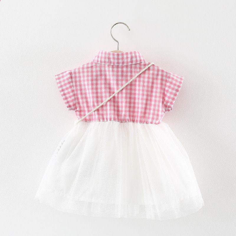 658b8824aaa Engeland geruite babymeisje jurk met zak tule katoenen baby jurk ...