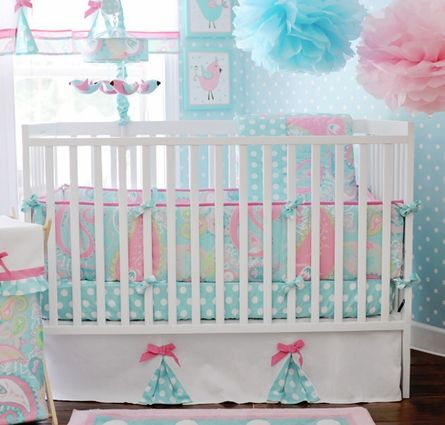 This will be baby Schmidli's nursery, I love that you can do so much with these colors! Aqua, lime green and of course pink!
