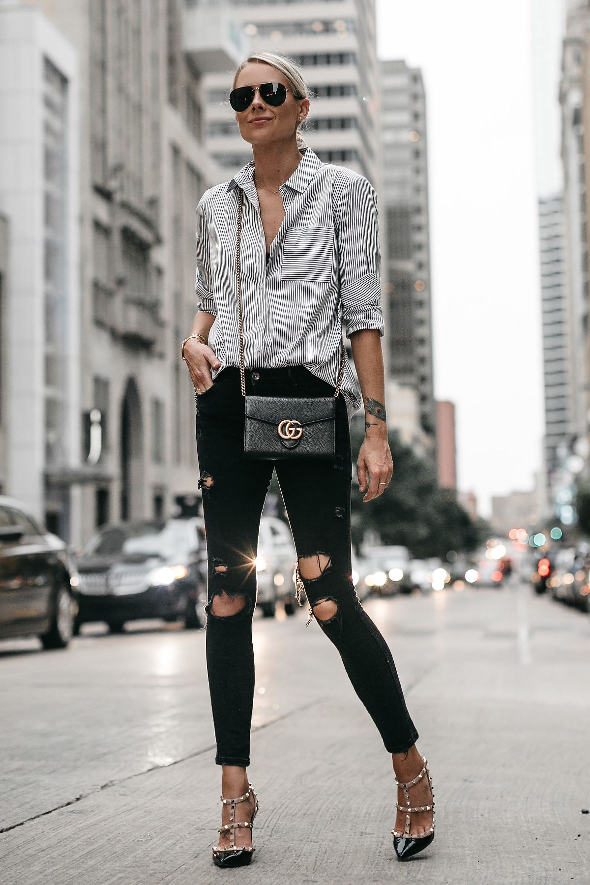 12c33e3245 Blonde Woman Wearing Striped Button Down Shirt Black Ripped Skinny Jeans  Gucci Handbag Valentino Rockstud Pumps Fashion Jackson Dallas Blogger  Fashion ...
