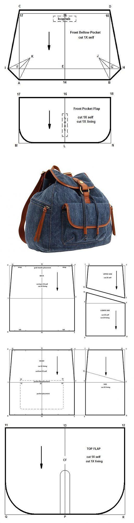 Patrones de mochila | Reciclado vaqueros y ropa | Pinterest ...