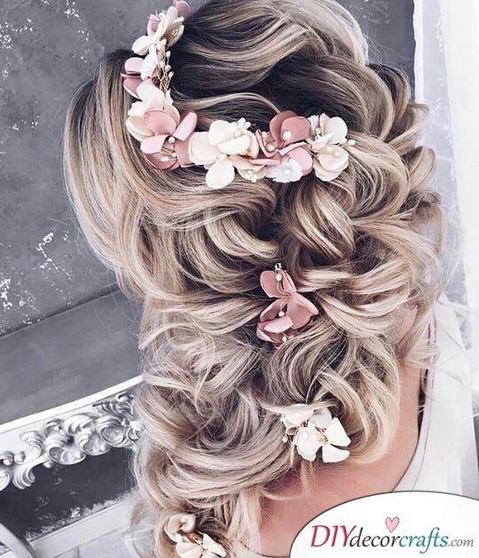 Floral with a Complex Braid - Elegant Wedding Hairstyles for Long Hair | Wedding hair ...