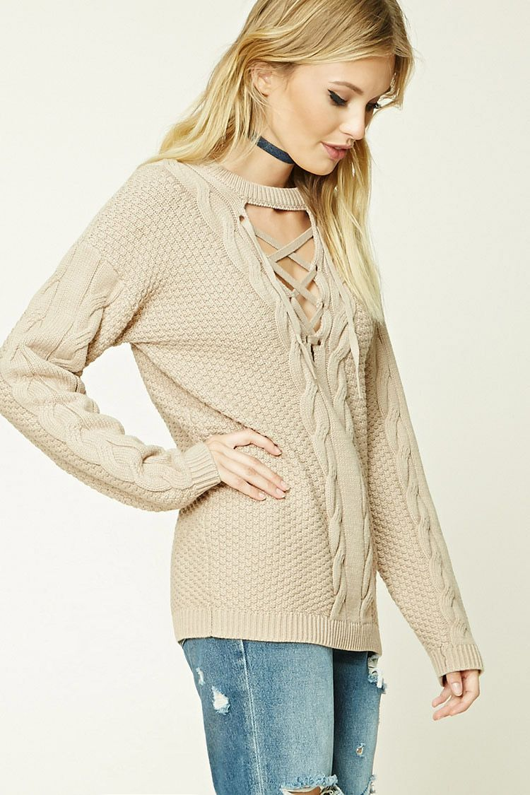 8011a891d Forever 21 Contemporary - A chunky fisherman sweater featuring a ...