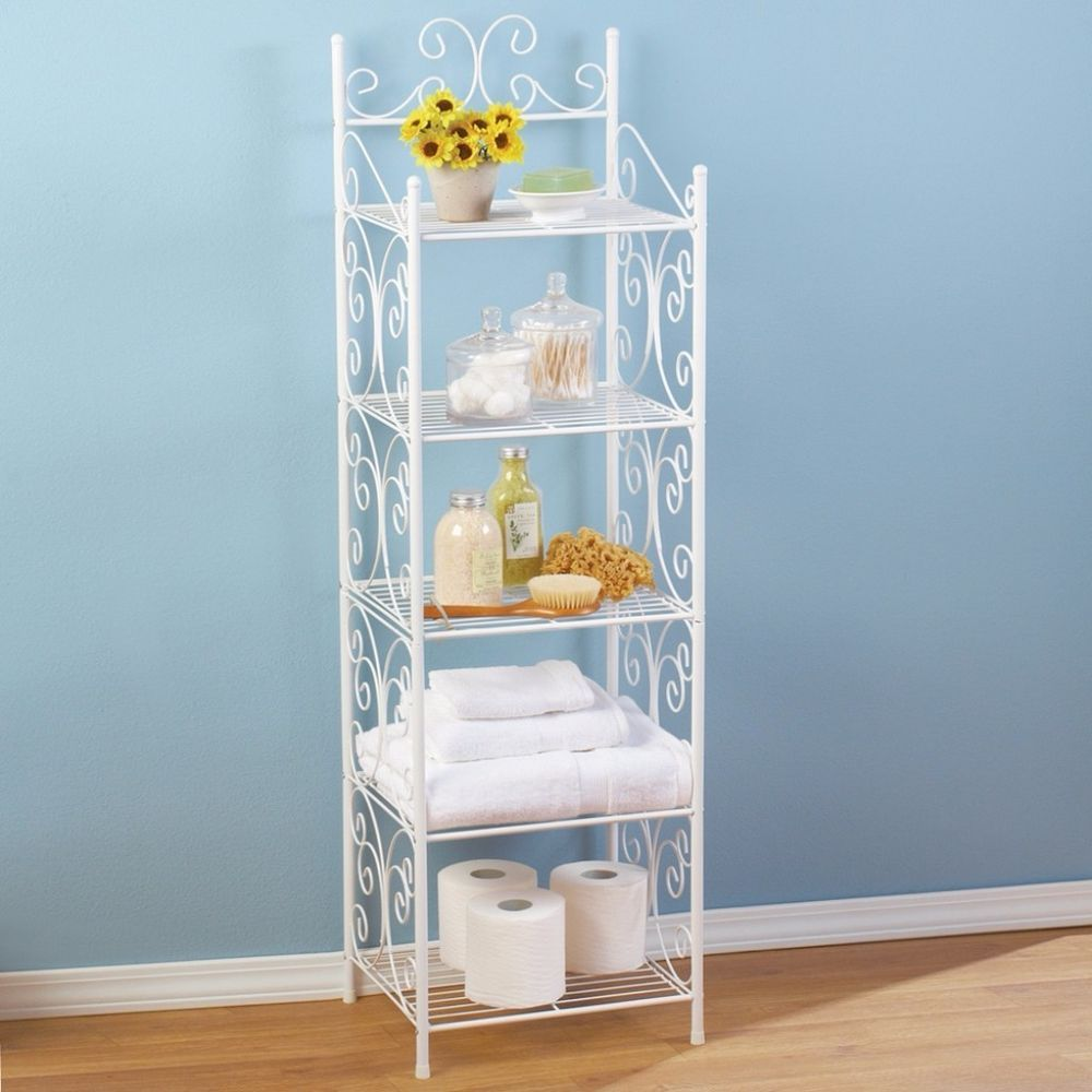 Scrollwork 5 Tier Storage Shelf for Bathroom Bedroom Towels Toilet ...