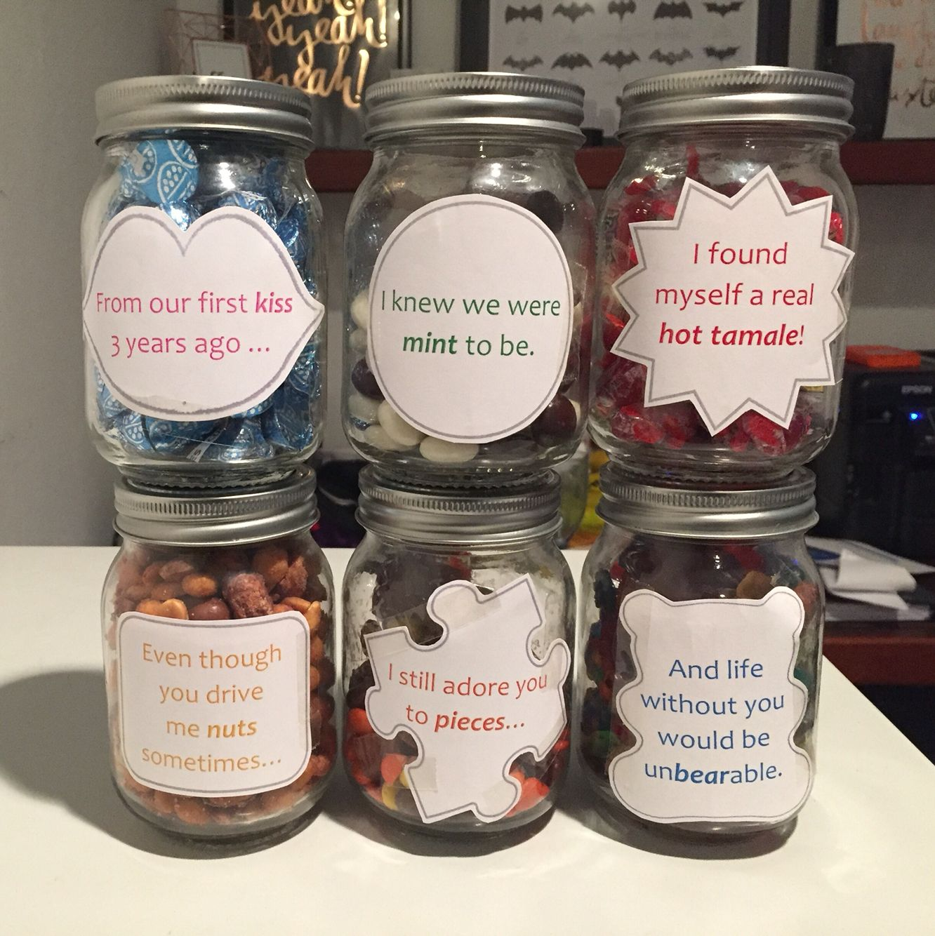 Cute Wedding Gift Ideas: Anniversary, Gift, Candy, Message, Love, Jars