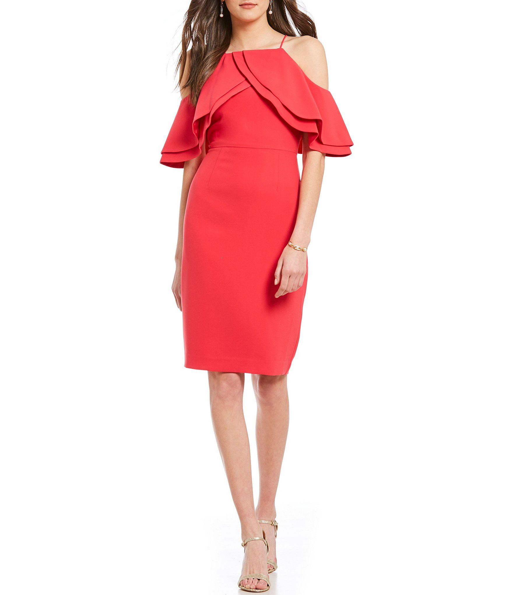 b977da170c8 Shop for Eliza J Cold Shoulder Double Ruffle Cold Shoulder Sheath Dress at  Dillards.com. Visit Dillards.com to find clothing