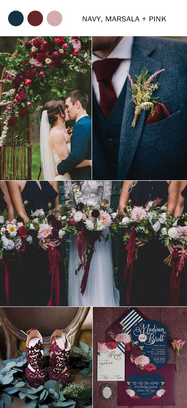 10 fall wedding color ideas youll love for 2017 navy blue navy fall wedding colors 2017 navy blue marsala and pink junglespirit Image collections