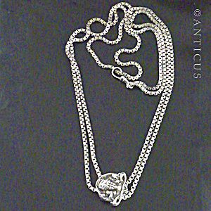 Long Silver Sliding Chain Necklace, Art Nouveau Slider