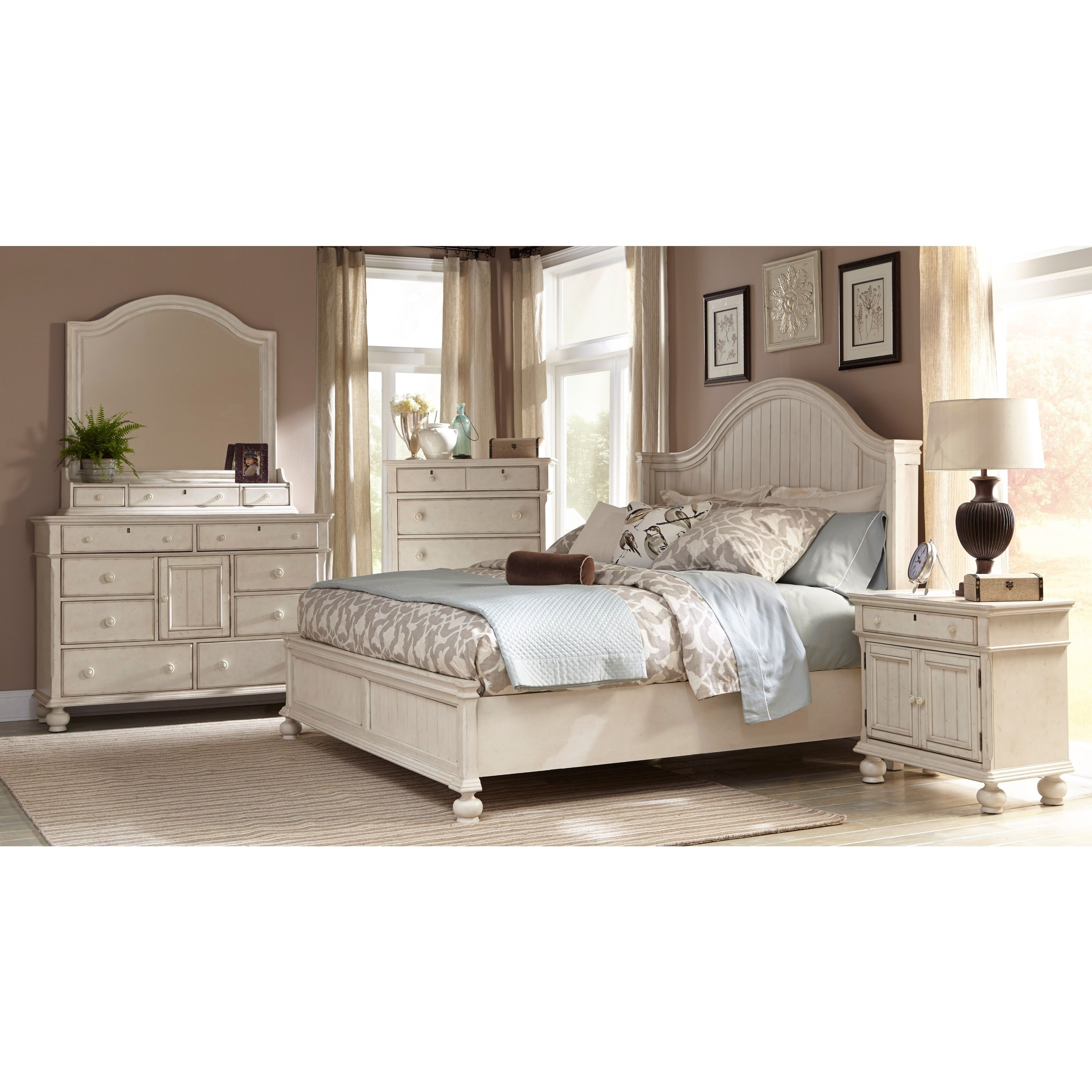 Laguna Antique White Panel Bed 6-piece Bedroom Set by ...