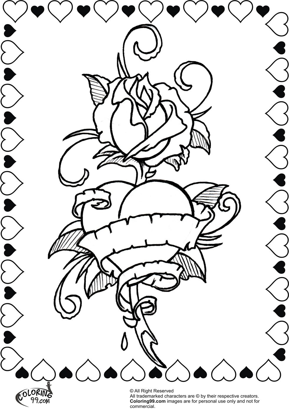 coloring pages of cool hearts and rose and ribbon printable enjoy coloring - Coloring Pages Hearts Roses