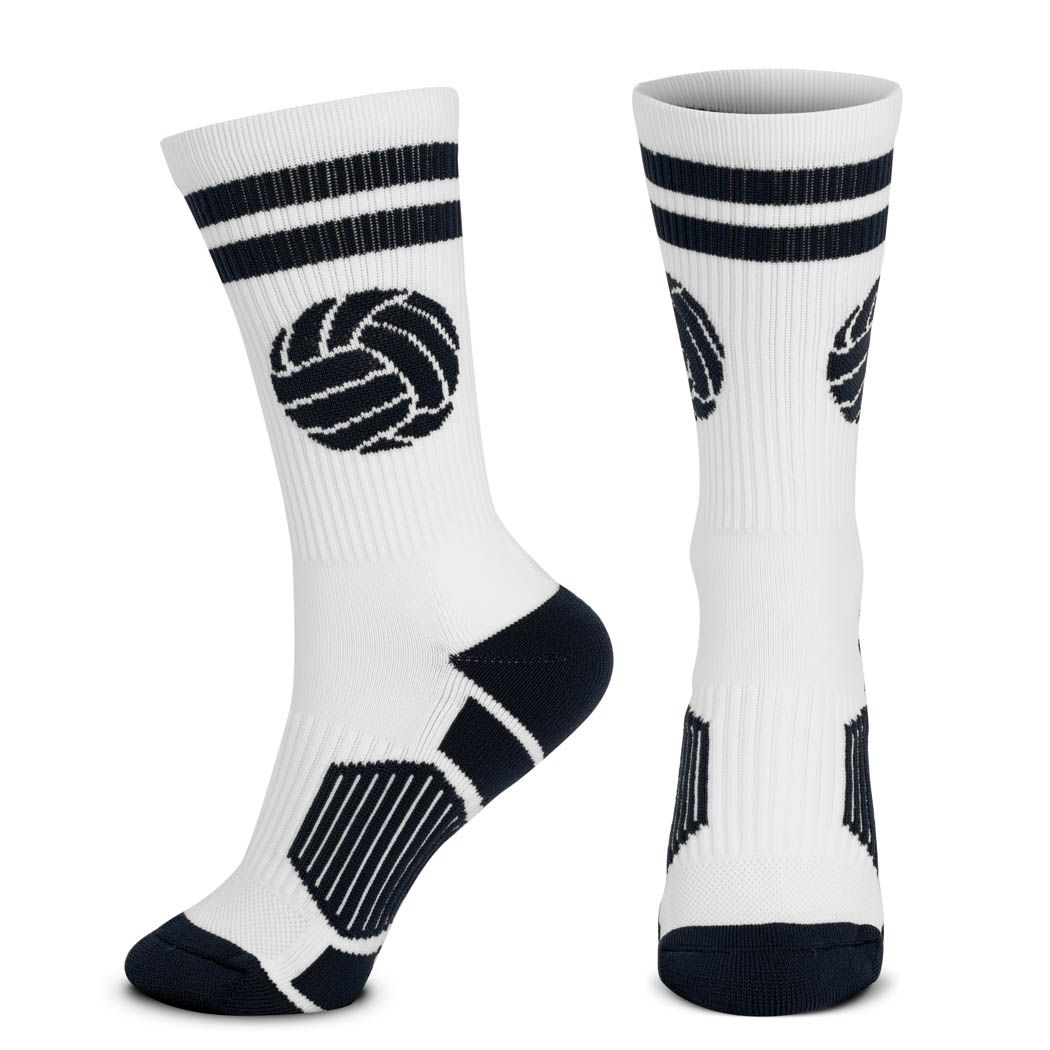 Volleyball Woven Mid Calf Socks Ball White Black Calf Socks Calves Socks