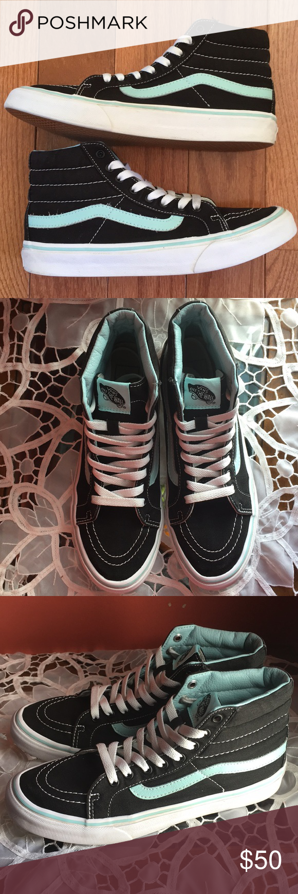 b8f544666f Vans Sk8 Hi High Tops Blue Stripe BRAND NEW CONDITION (faded heel logo) Size