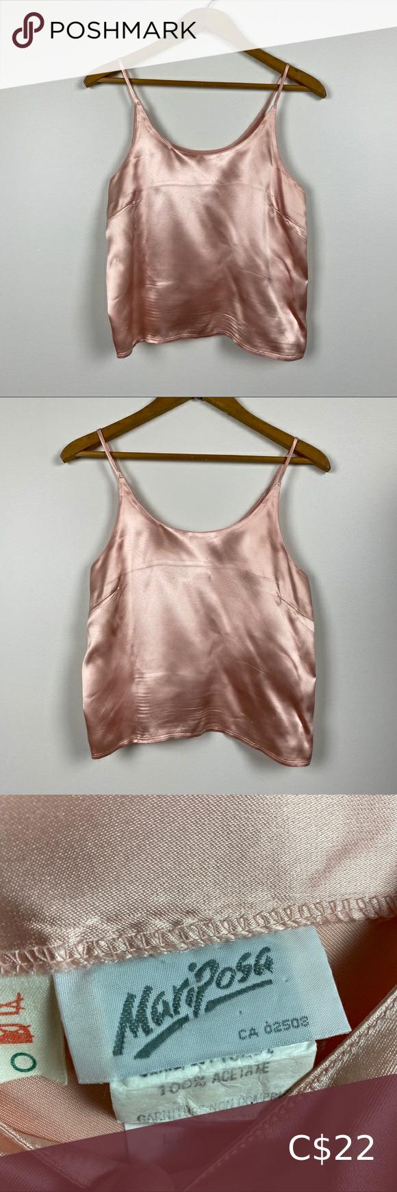 Vintage Blush Pink Satin Camisole Top