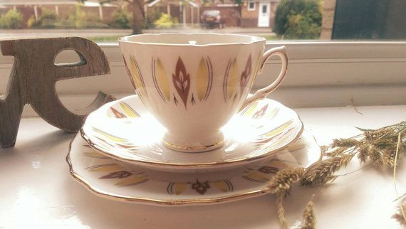 Lovely vintage tea cup candle, scented with a shot of oudh and mango. Check it out via our Etsy shop https://www.etsy.com/uk/listing/243376587/collectable-colclough-yellow-and-brown