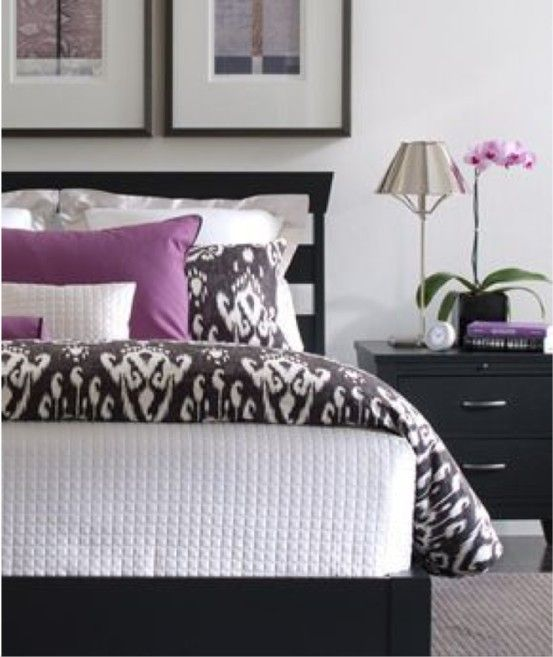 Delightful White Accented With Black And Purple Bedroom The Black Furniture And Orchid Offer A Hint Of The Orient Whist Home Home Bedroom Bedroom Inspirations