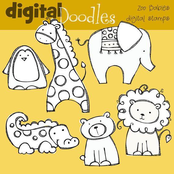 Kpm Zoo Babies Digital Stamps Etsy Zoo Drawing Animal Drawings Digital Stamps