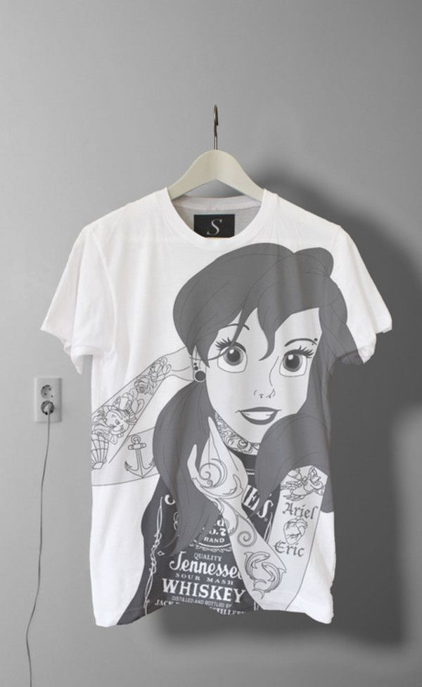 070f3a822 T-shirt: punk ariel ariel the little mermaid disney top young tumblr tatoo  shirt rock princess