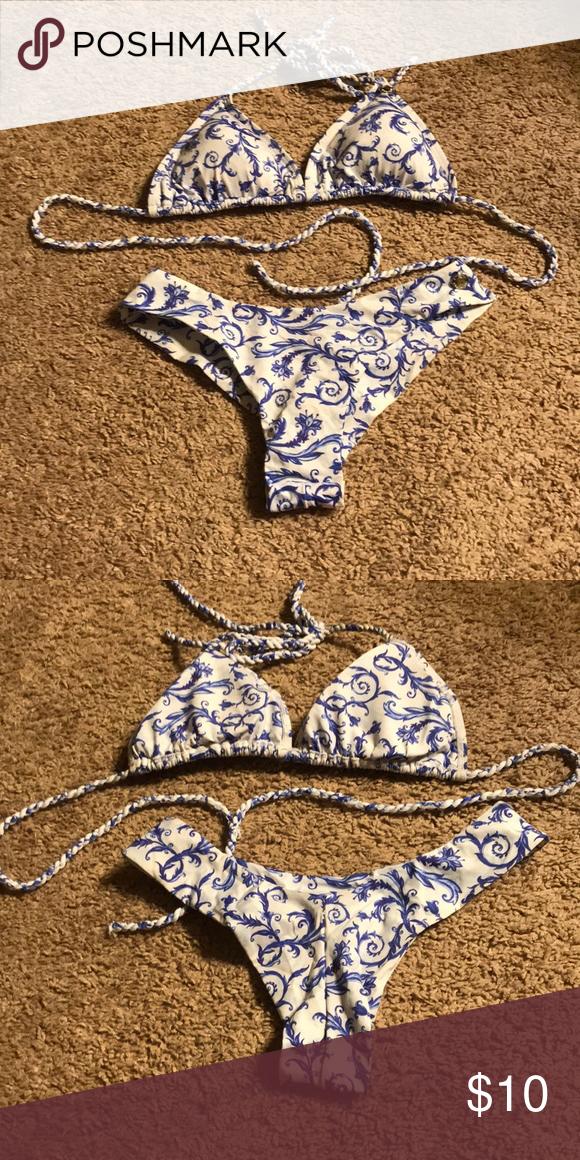 6409edf50cb53 Xs Agua Menta blue and white Bikini Xs agua menta blue and white Bikini.  Fantastic condition! Agua Menta Swim Bikinis
