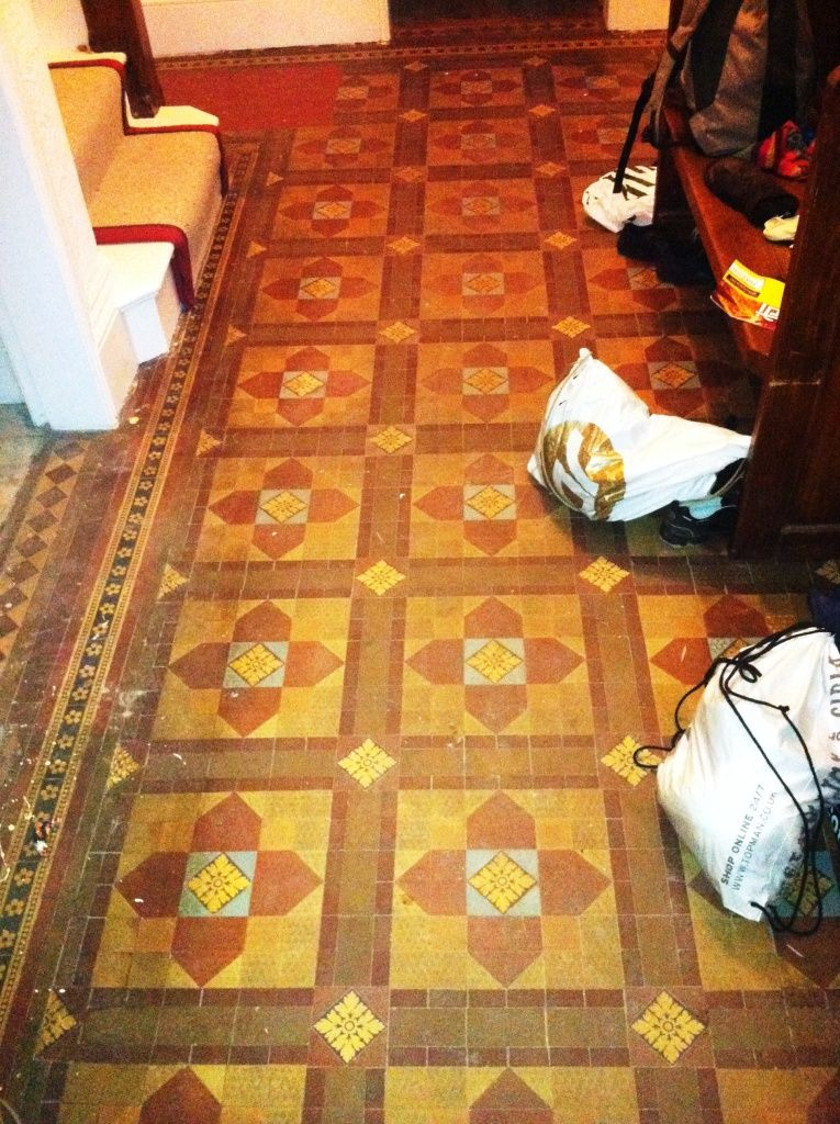 Victorian Floor Tiles Before Cleaning Checker Board Entrance