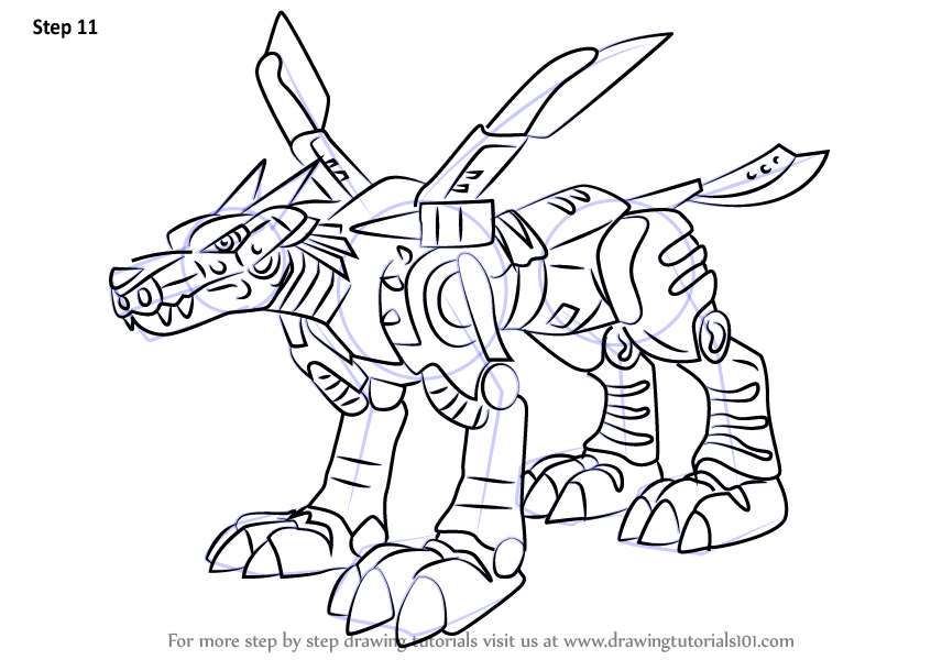 Learn How To Draw Metalgarurumon From Digimon Digimon Step By Step Drawing Tutorials In 2020 Drawings Digimon Drawing Tutorial