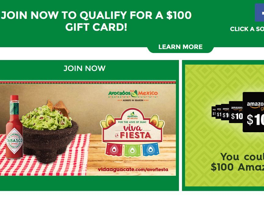 """Enter The Avocados from Mexico """"Team AFM"""" Fan Program September – October 2016 Sweepstakes for a chance to win 1 of 10 $100 Amazon Gift Card!"""