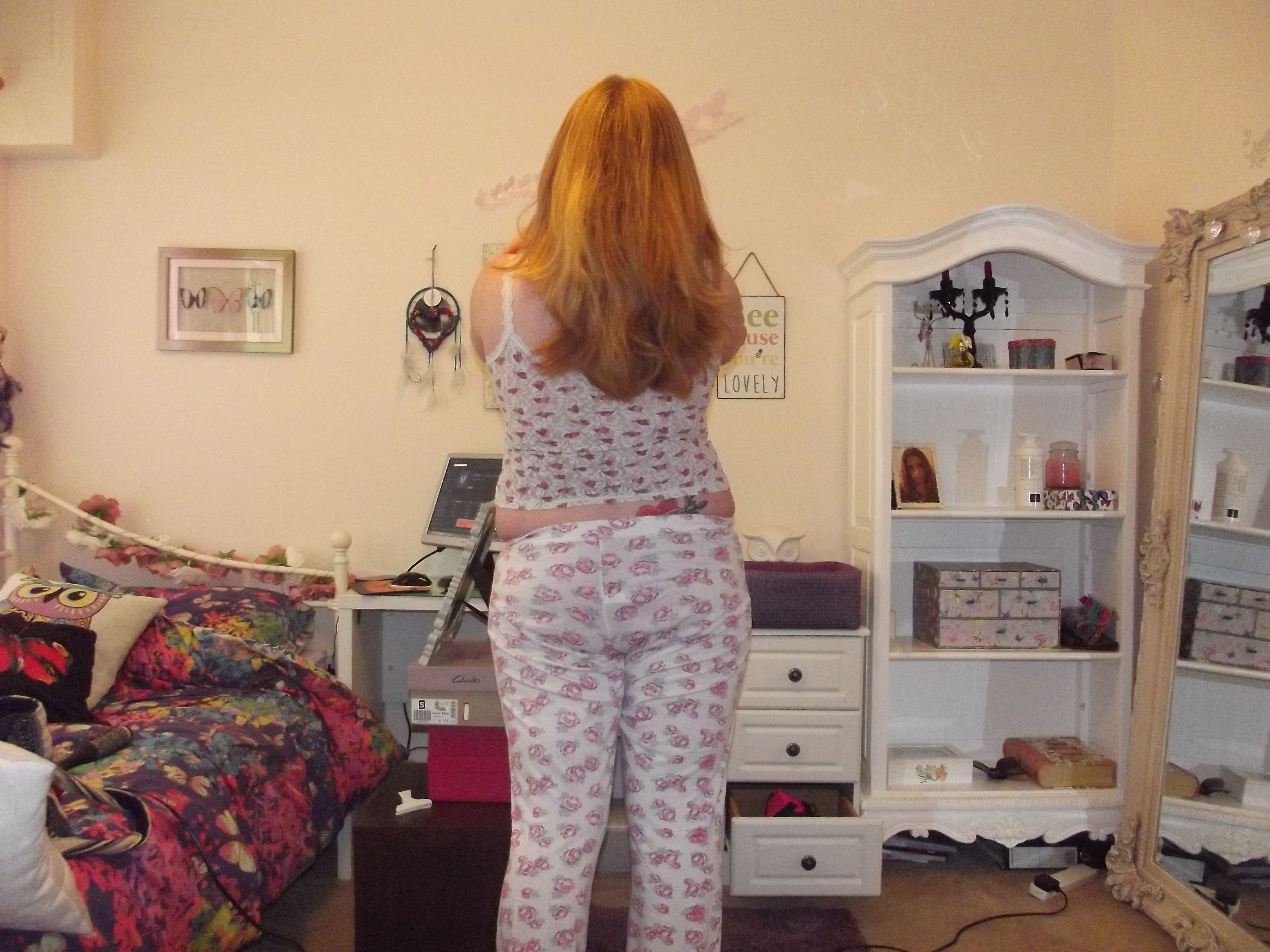 My natural red hair getting nice and long too from behind