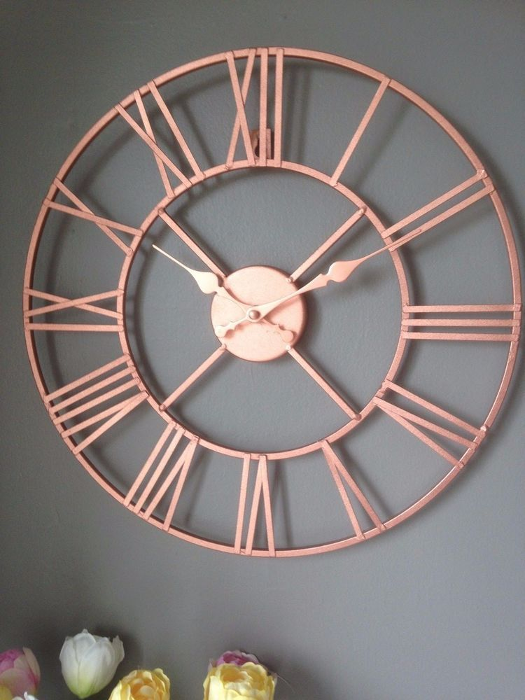 Rose Gold Copper Colour Metal Skeleton Wall Clock Roman Numerals 40 Cm Home Furniture Diy Clocks Ebay