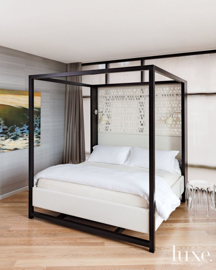 Contemporary Gray Bedroom With Custom Bed