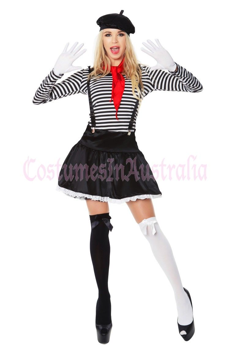 Ladies Mesmerizing Mime Costume French Artist Clown Circus Fancy Dress Outfits French Costume Circus Outfits Mime Costume