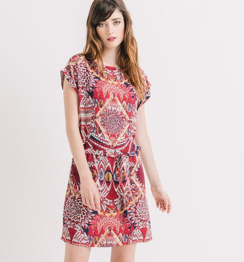 Patterned dress bordeaux red print - Promod