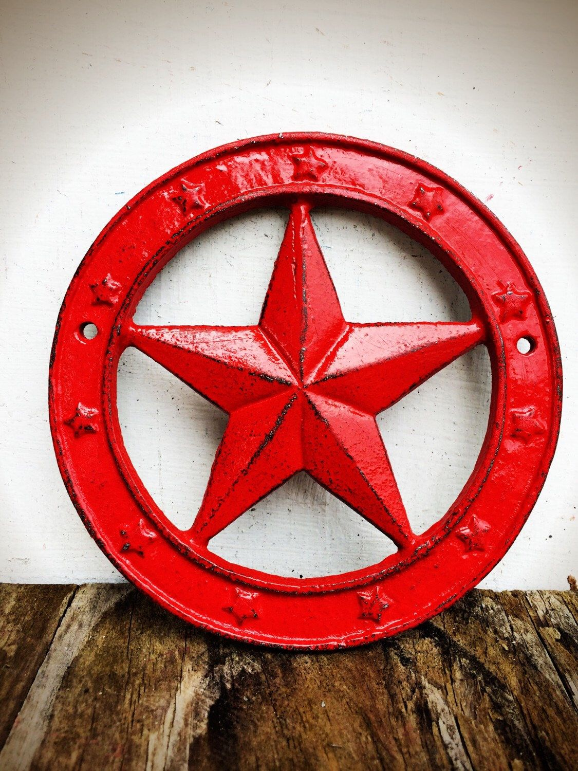 Texas Star Wall Art bold western star wall plaque // shabby chic bright apple red