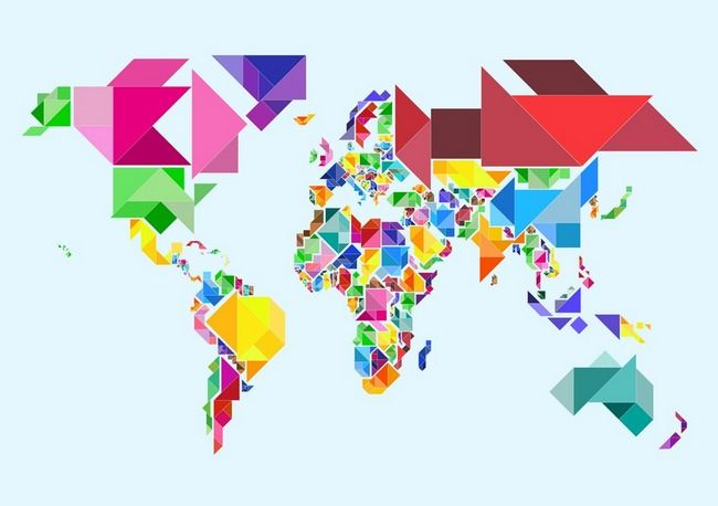 Tangram abstract world map by michael tompsett cartography tangram abstract world map by michael tompsett gumiabroncs Choice Image