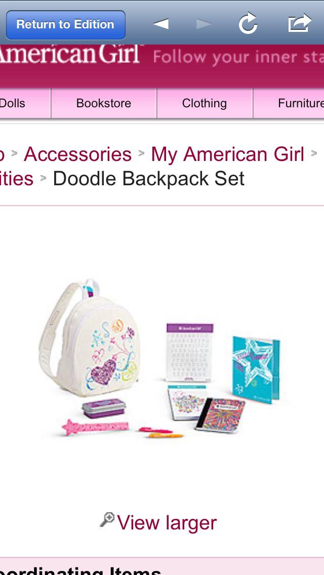 American girl doll doodle bookbag