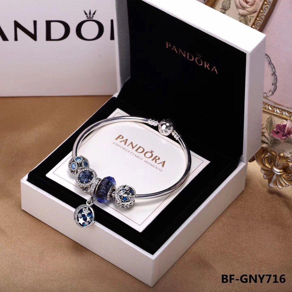 Pandora bracelet with blue theme charms bracelets pandora bangle