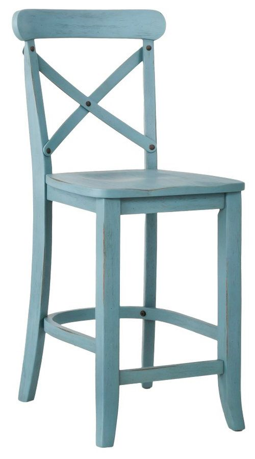 French Country X Back 24 Counter Stool In Blue Everything Turquoise Farmhouse Bar Stools Bar Stools With Backs Country Bar Stools