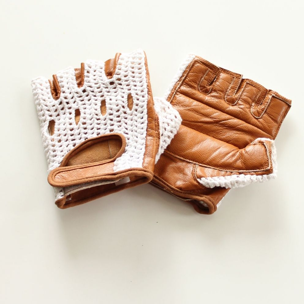 Ladies leather cycling gloves -