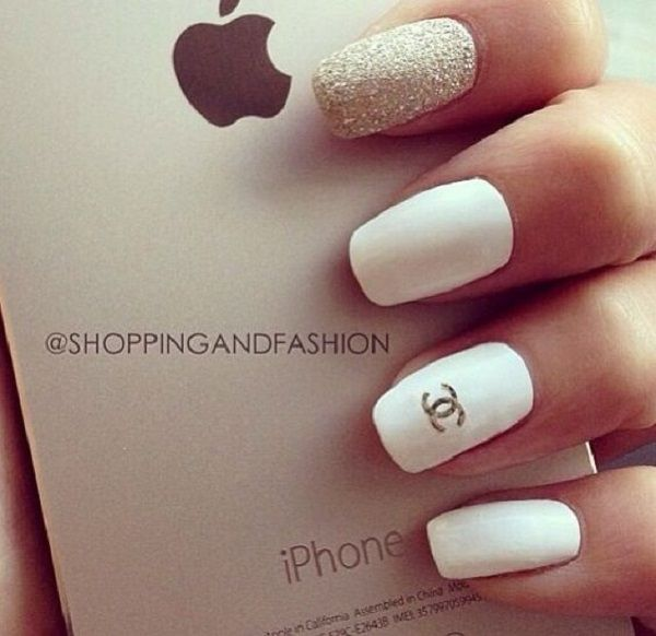 45 Gold Nails You Wish To Try Chanel Nails Design Chanel Nails